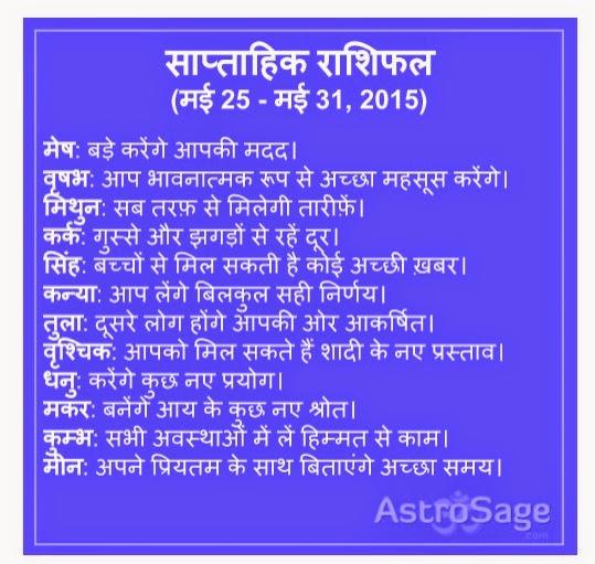 25 May se 31 May 2015 tak ane wale saptah me jaane apna bhavishya.