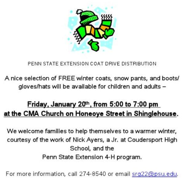 Coat Distribution In Shinglehouse Today