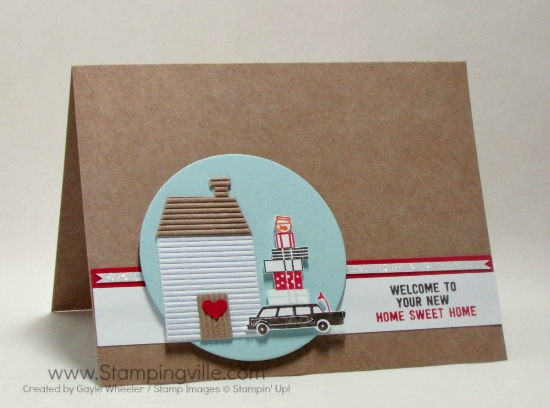 Clean and simple happy new home card with Kraft paper card base, featuring Stampin' Up! Happy Notes stamp set.