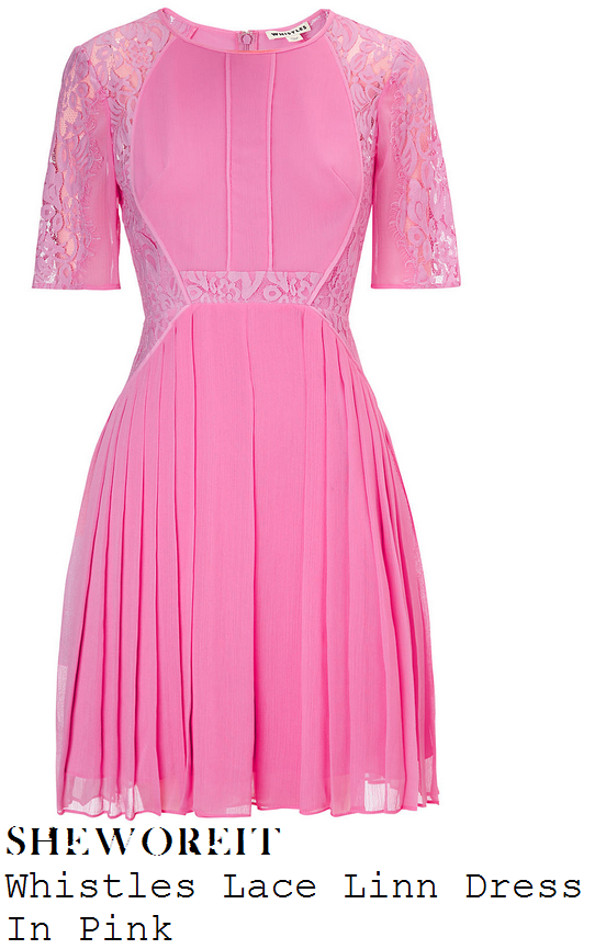 myleene-klass-candy-pink-floral-lace-half-sleeve-pleated-dress-loose-women