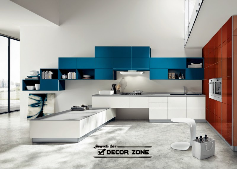 Kitchen Cabinet Color Combinations   Blue And Natural Wood