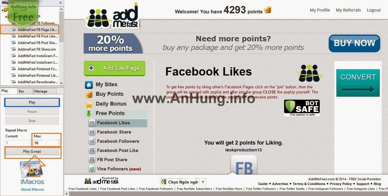 Auto Tăng Like Fanpage Với Addmefast,Addon Imacros P1