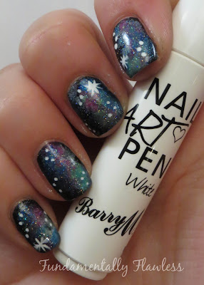 Galaxy nails with Barry M White Nail Art Pen