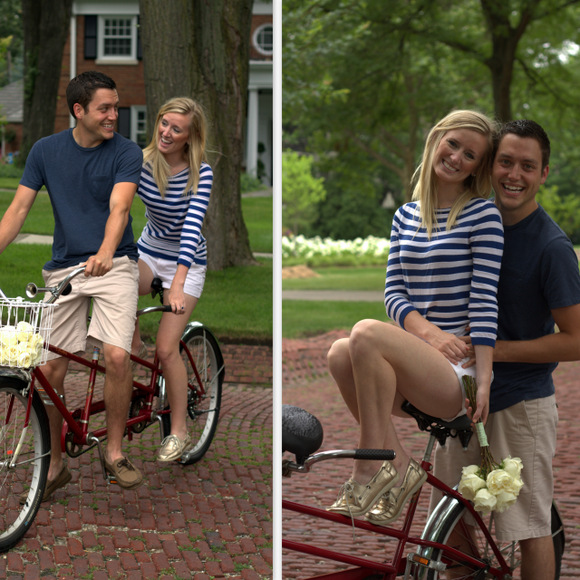 An engagement photo shoot on a tandem bike is fun and unique.