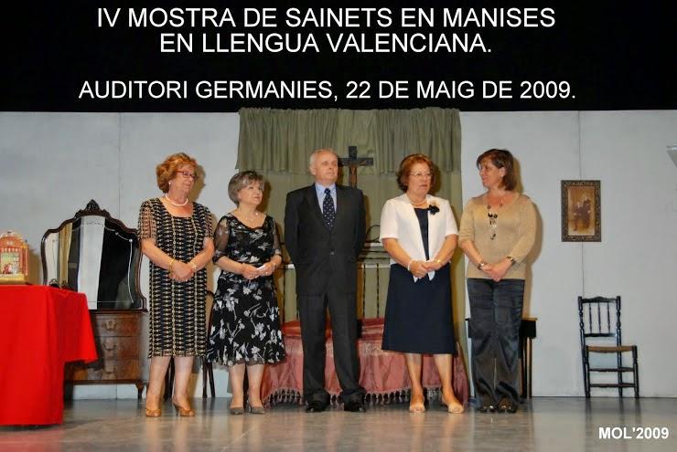 MOSTRA DE SAINETS DE MANISES EN LLENGUA VALENCIANA 2009
