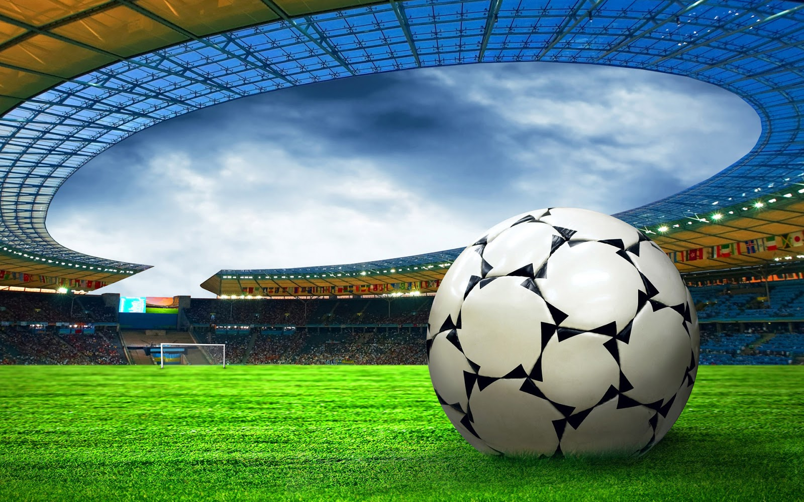 Wallpaper De Un Balon De Futbol Que Esta En Un Estadio