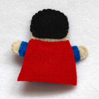 Superman felt fingerpuppet, handmade by Joanne Rich.