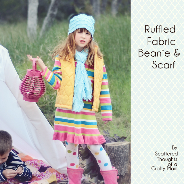 ruffle fabric scarf and hat