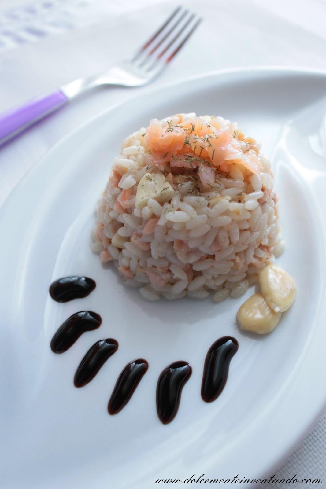 risotto al salmone affumicato, chardonnay, mandorle e limone