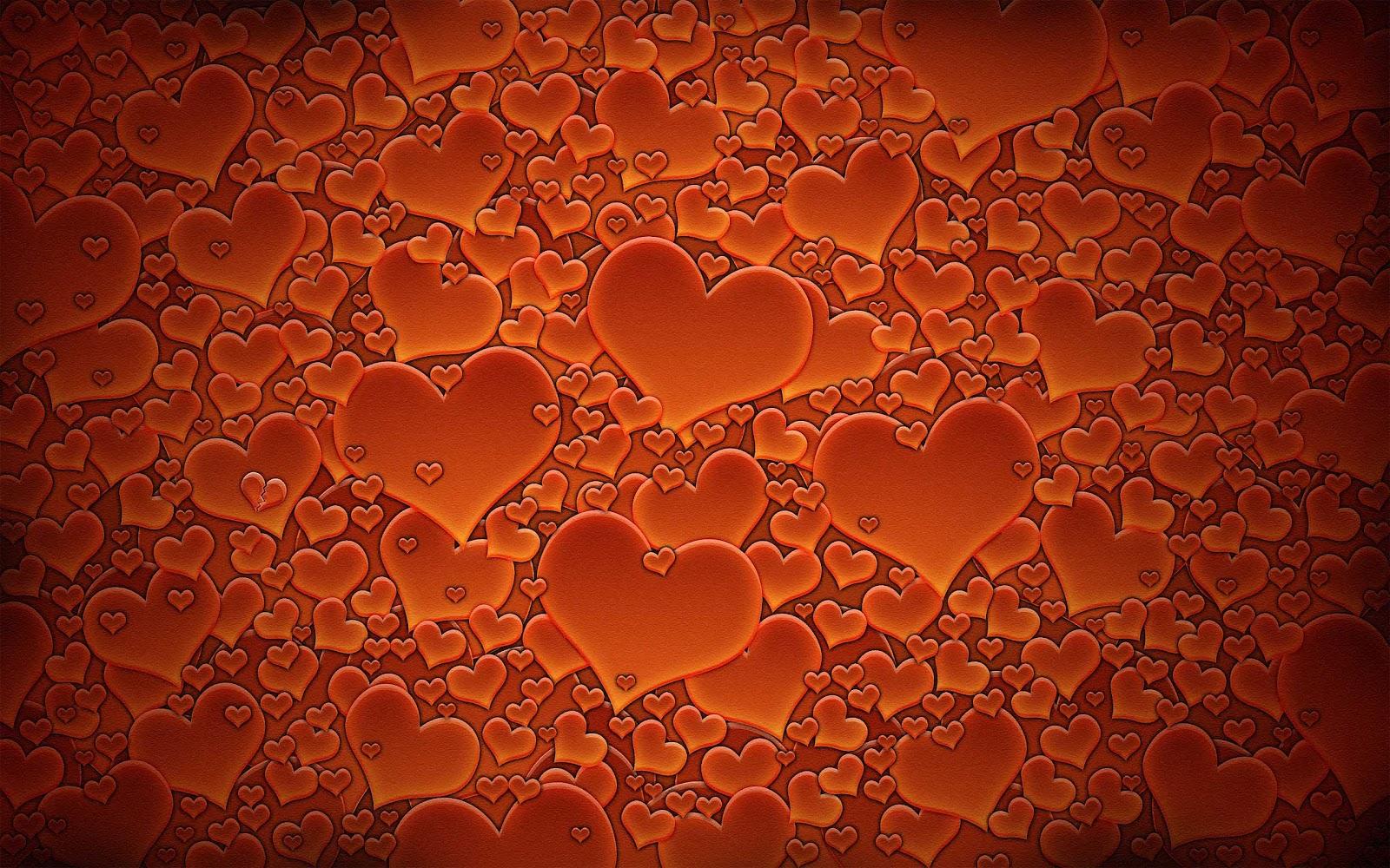 Achtergrond Met Veel Rode Oranje Liefdes Hartjes   HD Liefde Wallpaper