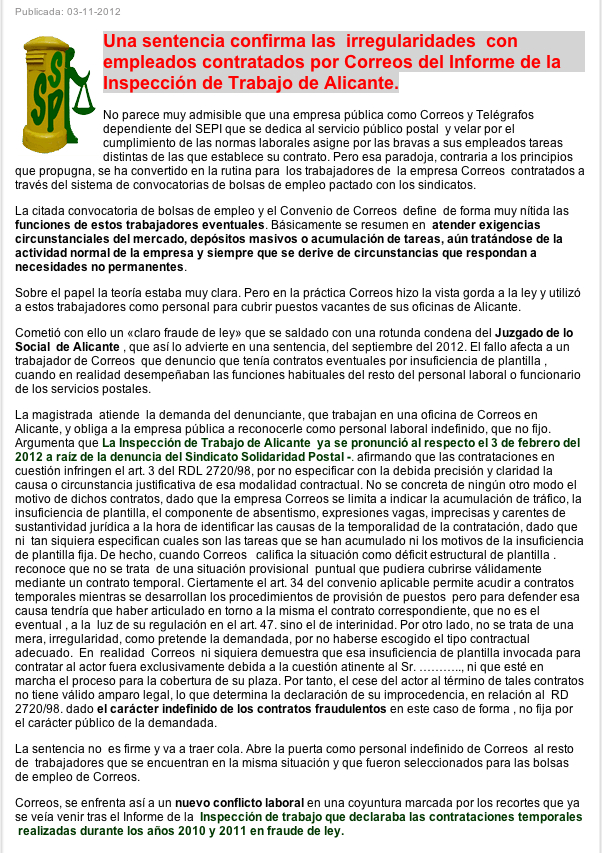 Solidaritat postal solidaridad correusalacant 121103 for Oficina de empleo por codigo postal