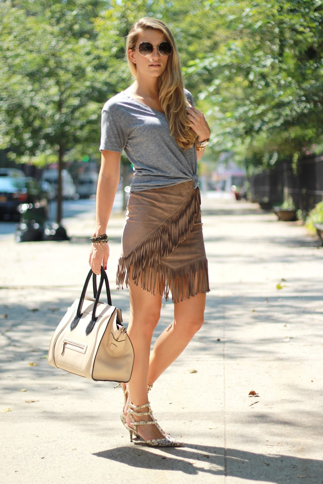 dressed for dreams in 1 state fringe skirt, valentino rockstud snakeskin