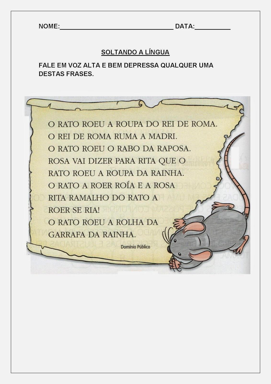 Atividades de Alfabetização para Imprimir - O rato roeu a roupa do rei de Roma