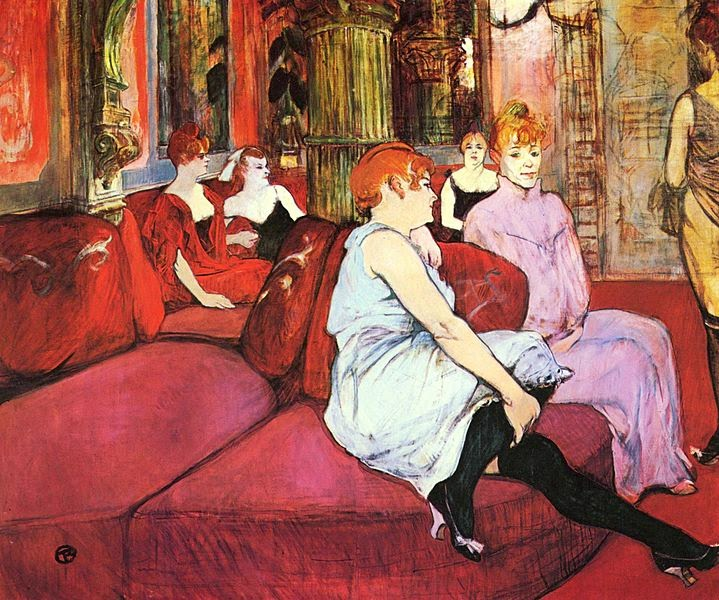 Salah satu Karya Henri de Toulouse-Lautrec Salon at the Rue des Moulins (1894)