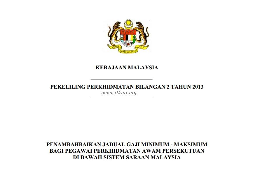 Pekeliling Kenaikan Gaji Terbaru 2013