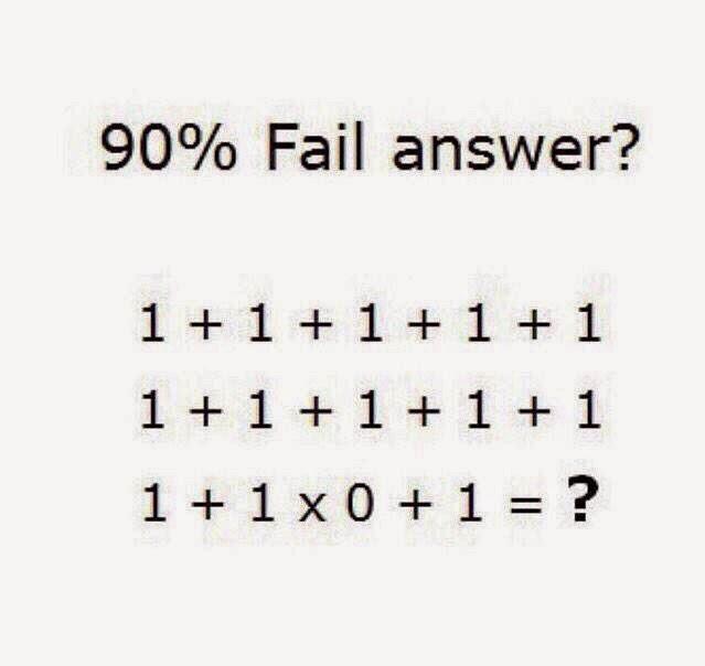 90% Fail Answer? 1 + 1 +1 + 1 + 11 + 1