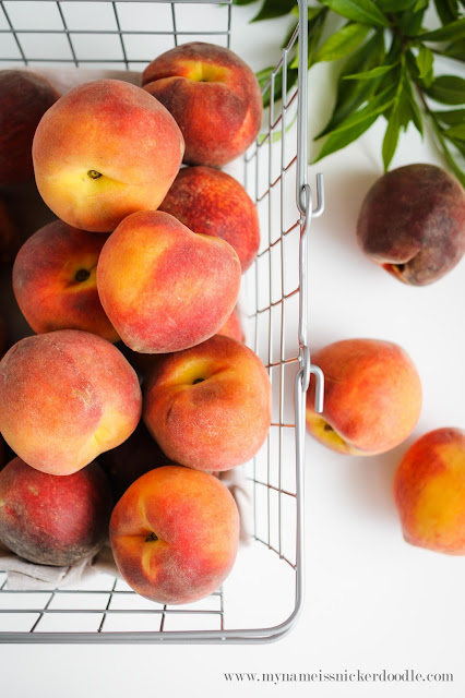 Gorgeous peaches!  Use this super simple method to peel peaches perfectly!  |  mynameissnickerdoodle.com
