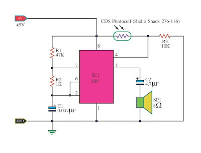 Light detector using IC-timer 555
