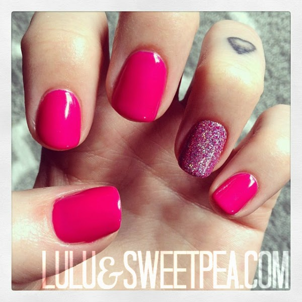 & Sweet Pea: Hot pink & glitter gel manicure {How to embed glitter