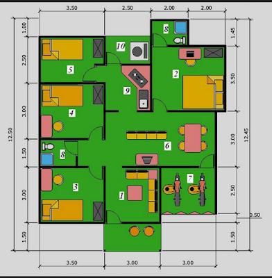 Denah Rumah Minimalis 1 Lantai Type 100