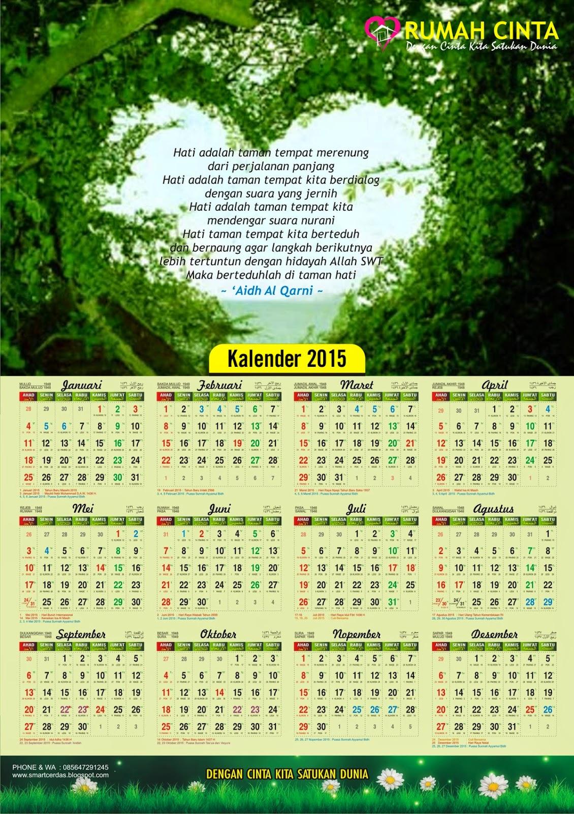 Kalender 2015 Lengkap dengan Kalender Jawa, Hijriyah dan Puasa Sunnah ...