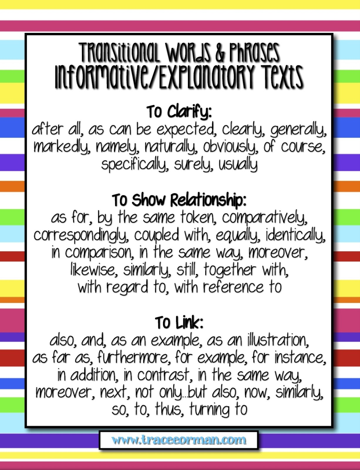 Mrs Ormans Classroom Common Core Tips Using Transitional Words TransitionsInformativeExplanatoryCCSS Common Core Tips Using Transitional