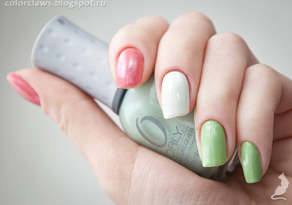 Orly Strip Down, Dayglow и Green Apple, покрытык сверху Orly Walk Down the Aisle