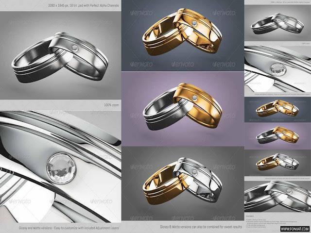ملف PSD لقطعتين من الذهب والفضى