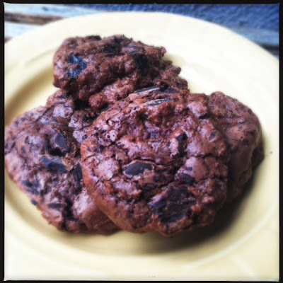 decadent chocolate chip cookies with dried cherries