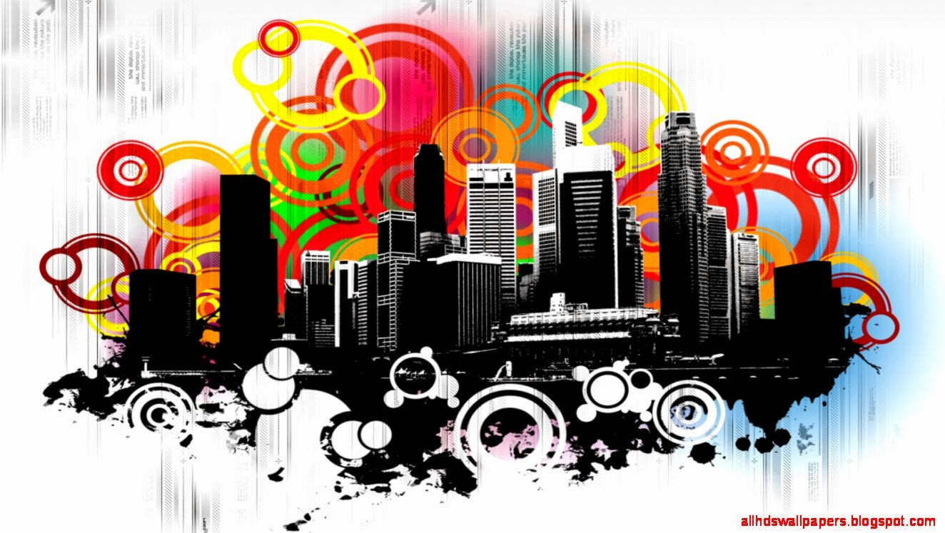 View Original Size Rainbow City Abstract HD Wallpaper
