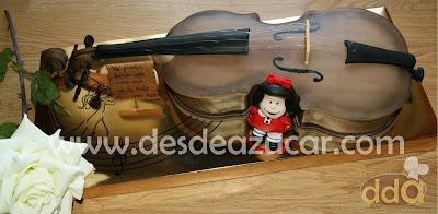 tarta fondant, tarta, tarta violin, mafalda, MSC,