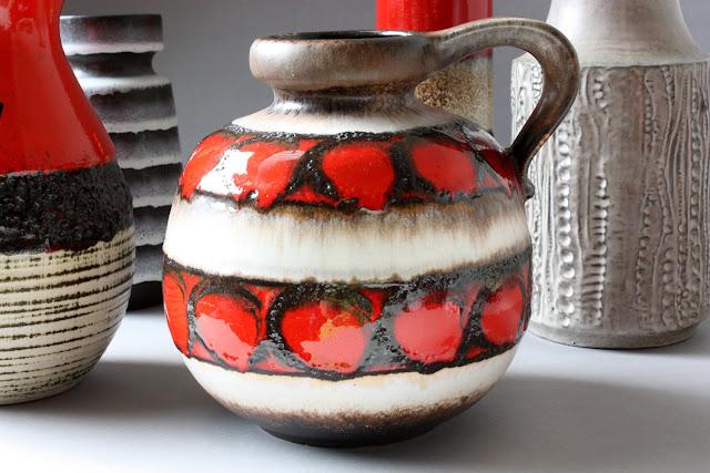alte bauchige keramikvase mit henkel Fat Lava rot beige braun 60er 70er jahre blumenvase vase made in west germany firma scheurich