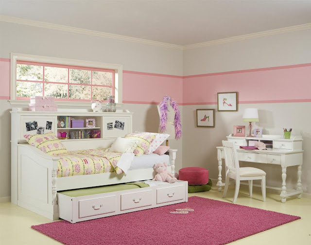 attractive toddler bedroom furniture sets and space saving bedroom simple plus white student desk and chair also white walls with pink accent then big purple shag area rugs