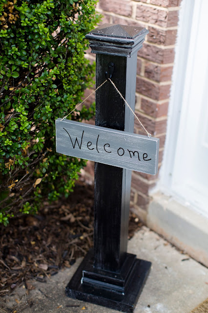 DIY wooden post welcome sign