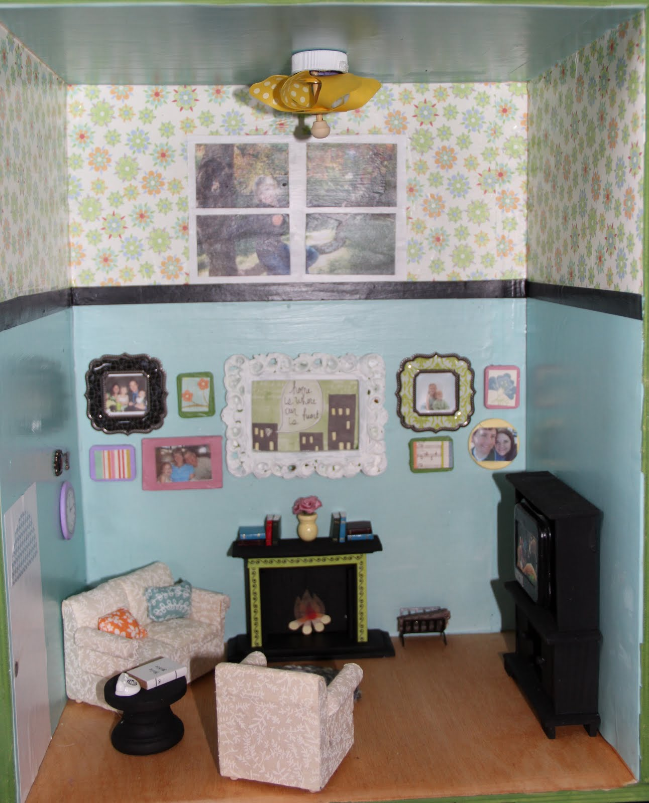 The walls are papered with scrapbook paper and Mod Podged. The black  title=