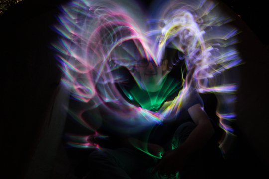 glow heart light painting