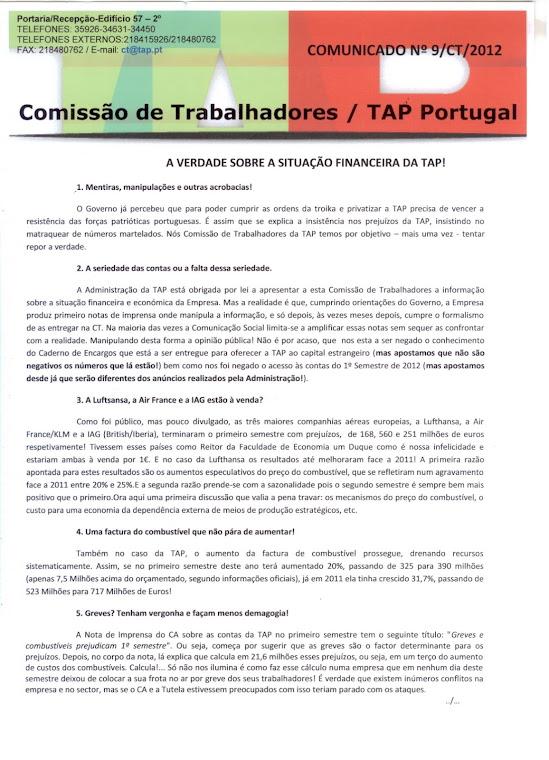 Comunicado 09/2012 (frente)