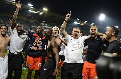Montpellier players celebrate after winning the French Ligue 1 title