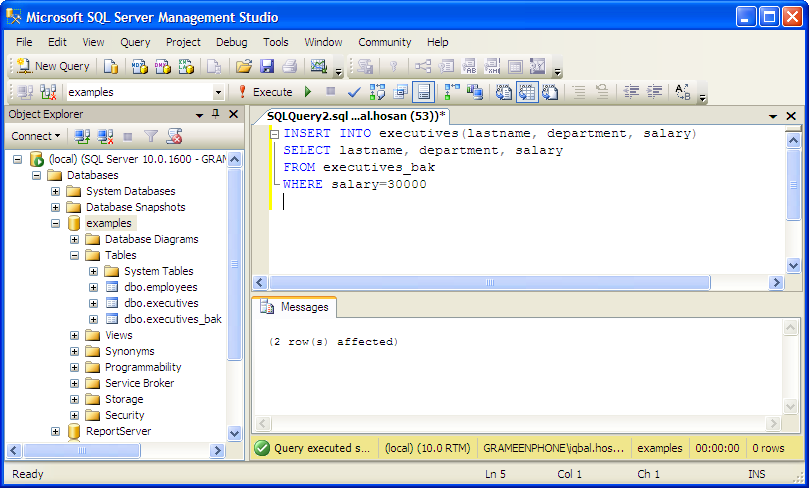Examples insert mssql rows columns from another table for Sql server table design query