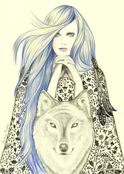 Andrea Hrnjak drawings illustrations indian women animals White fang