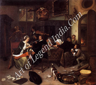 Jan Steen (1626-79) The Dissolute Household, Born in Leyden, the son of a brewer, Jan Steen was one of the most prolific genre painters of the 17th century. Like many of his works, The Dissolute Household abounds with moralizing details.
