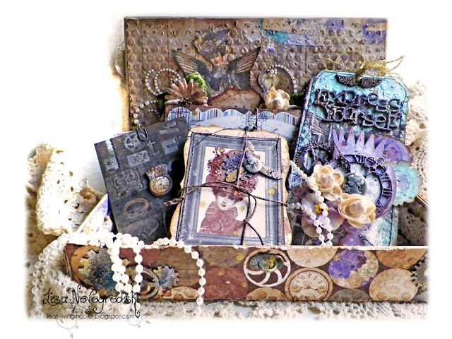 Mini album treasure box created by Lisa Novogrodski for Scraps of Darkness using the July 2015 Traceys Artful Adventure Kit