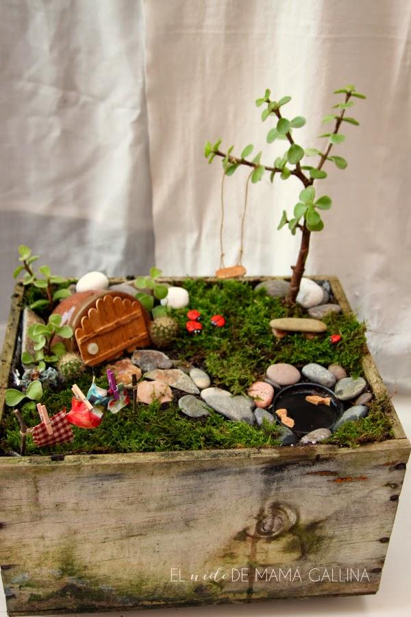 Diy c mo hacer un jard n de hadas fairy garden con una for Tendedero jardin