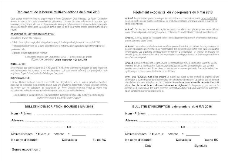 Règlements Bourse et vide-greniers