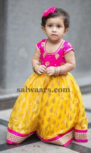 Girl in Yellow Tissue Lehenga