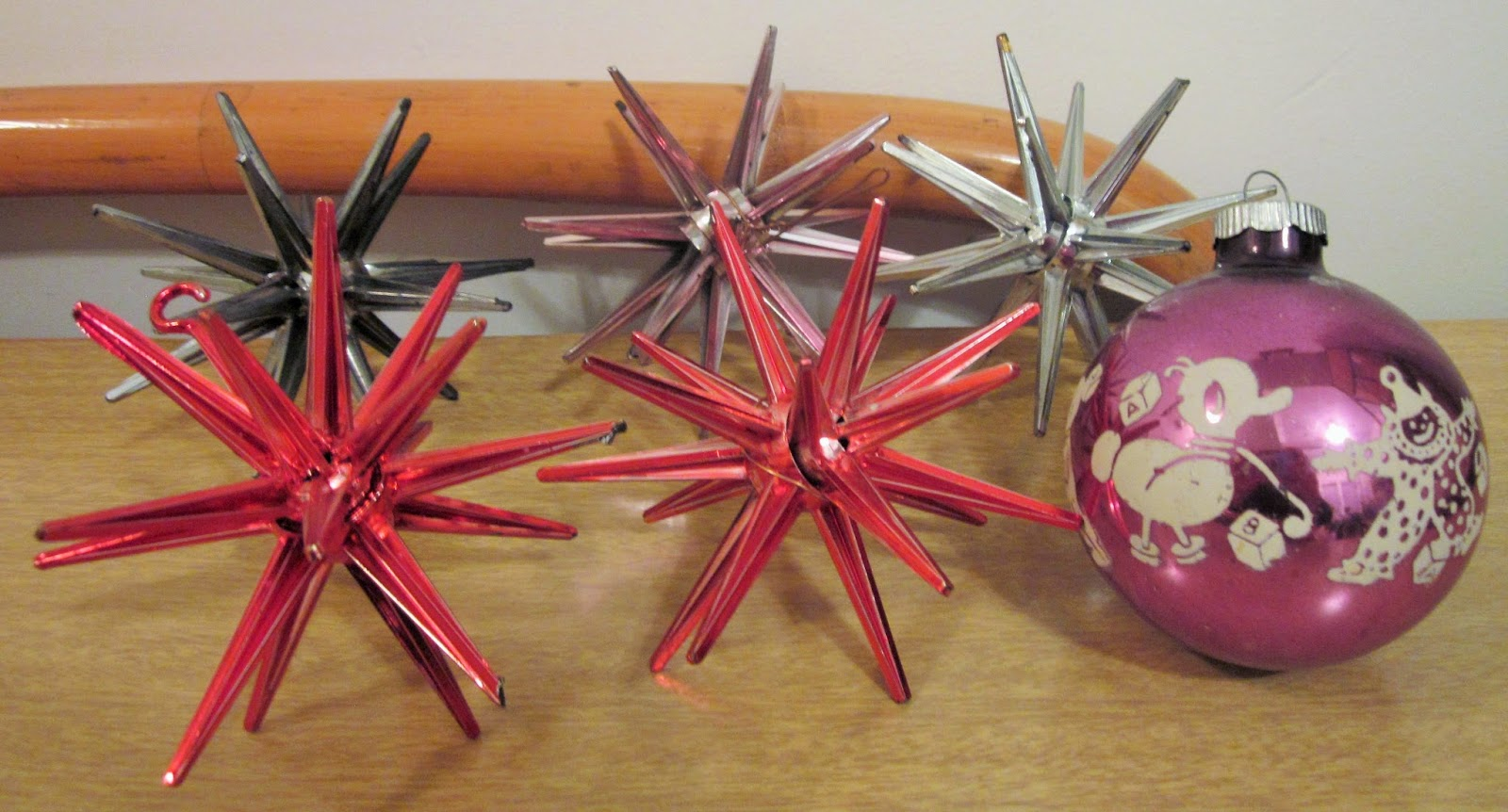 Sputnik christmas ornaments - Sputnik Ornaments And An Old Glass Ornament With A Duck And A Clown