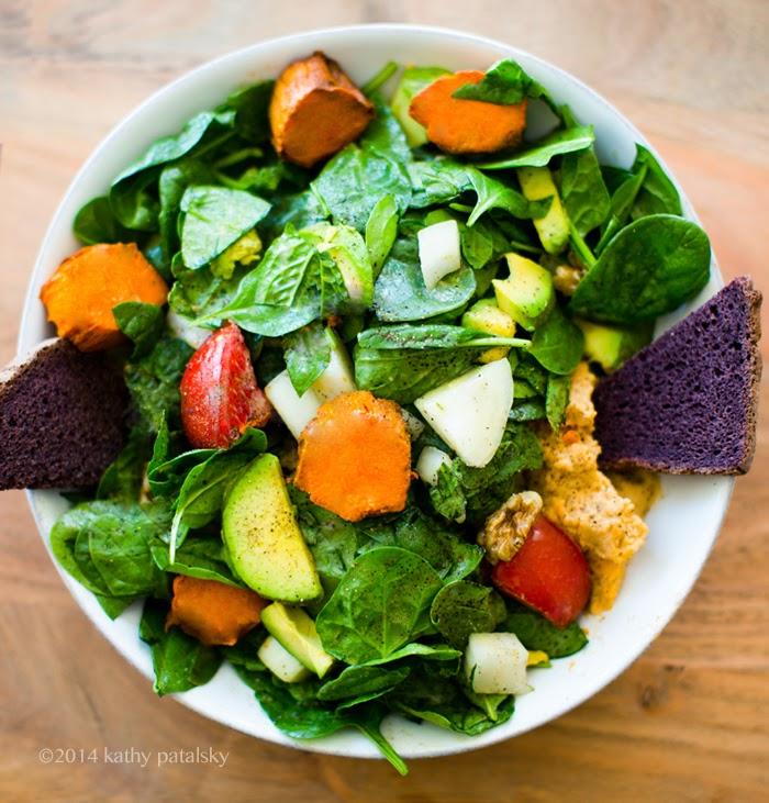 Kathy's fave salad avocado sweet potato greens