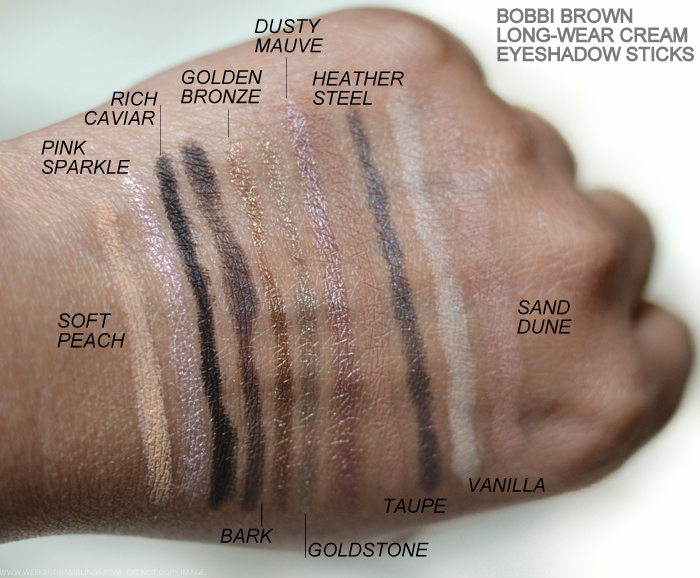 Bobbi Brown Long-Wear Cream Eyeshadow Sticks Swatches Soft Peach Pink Sparkle Rich Caviar Bark Golden Bronze Goldstone Dusty Mauve Taupe Heather Steel Vanilla Sand Dune