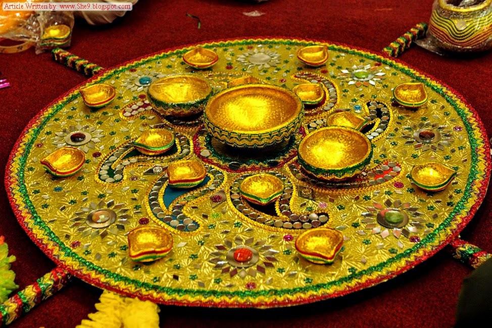Mehndi Decoration Items : Mehndi event accessories plates dandiya flower jewellery
