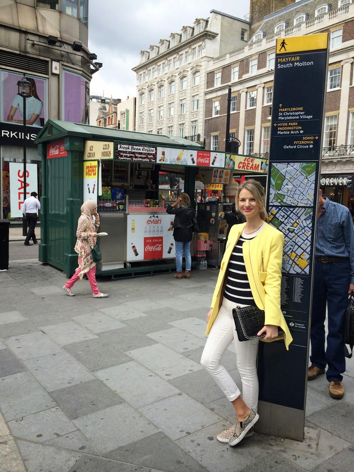 London, striped jumper, nautical outfit, nautical themed outfit, nautical coloured outfit, breton stipes, slip ons, hm slipons, london, london street style